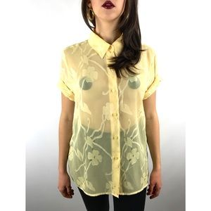 80's sheer yellow on yellow floral button down